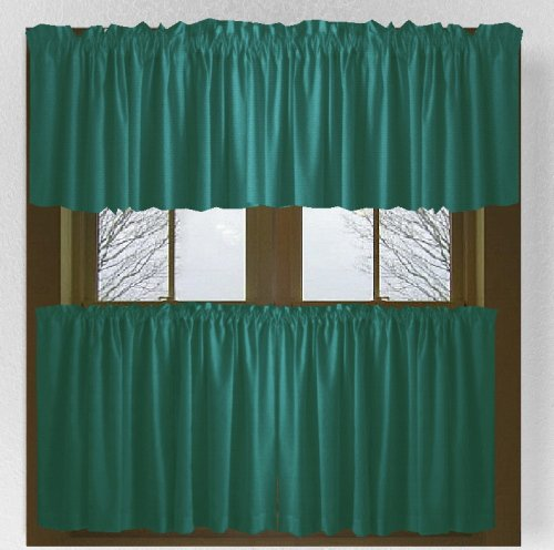 Solid Teal Colored Caf Style Curtain includes 2 valances