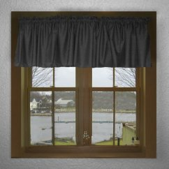 Cafe Curtains For Kitchen Stacked Stone Outdoor Solid Black Color Valance In Many Lengths - Custom Size
