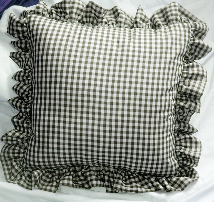 Black Gingham Check Accent Pillow with Removable Ruffled Edge Cover available in 16x16 or 18x18