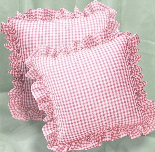 Light Pink Gingham Check Accent Pillow with Removable
