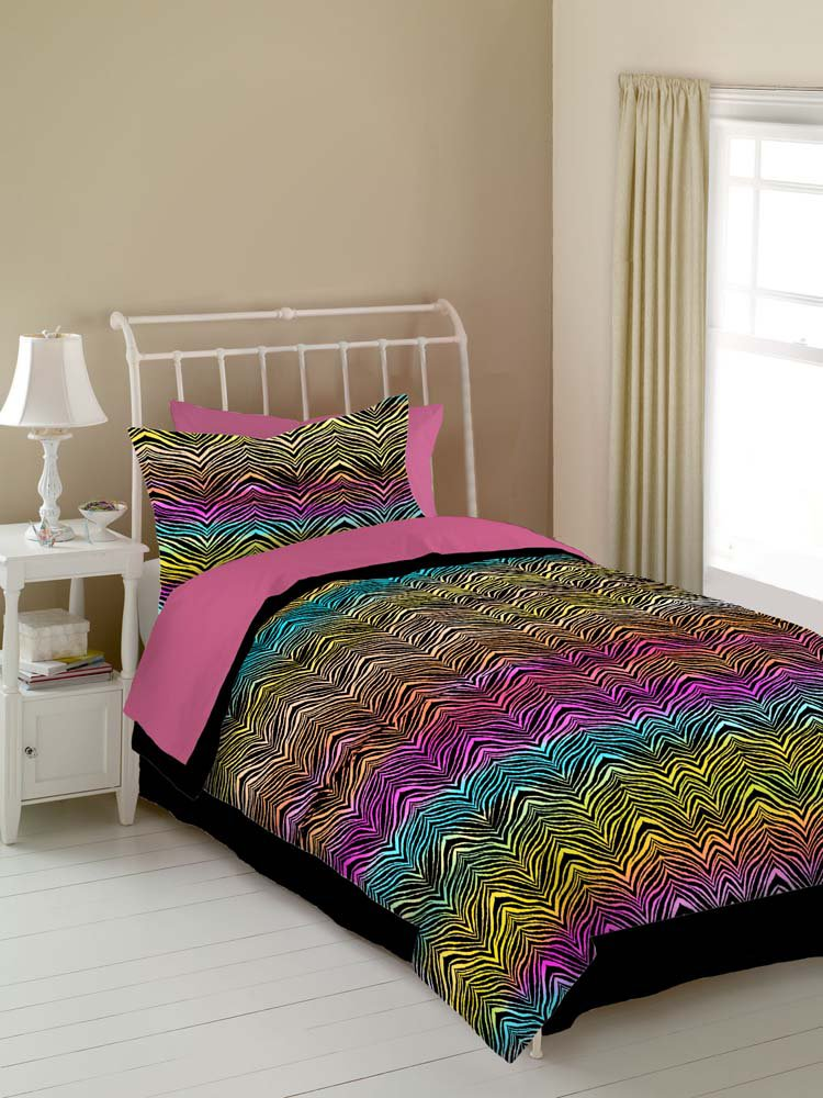 Rainbow Zebra 4PC Queen Comforter Set Rainbow