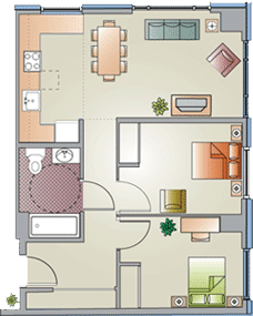 2 Bed / 1 Bath / 725 sq ft / $1075-60% $494-30%