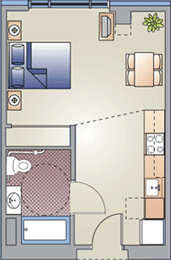 Studio / 1 Bath / 400 sq ft / Rent: $876