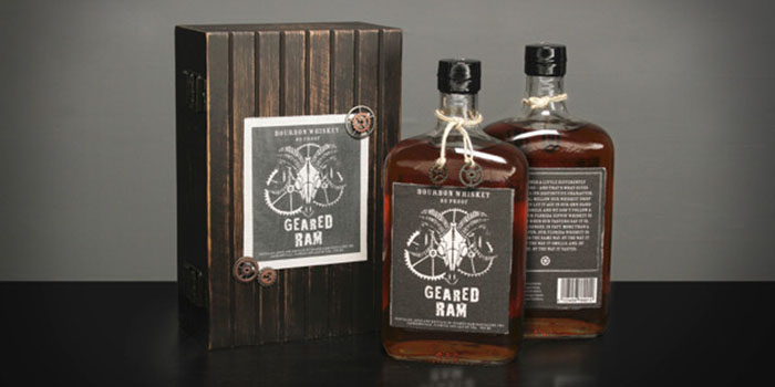 Geared Ram Bourbon Whiskey  Daily Package Design InspirationDaily Package Design Inspiration