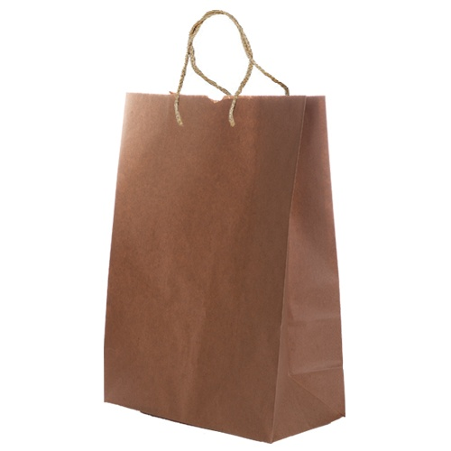 BROWN MEDIUM SHOPPER WITH FLAT HANDLE (100 UNITS)
