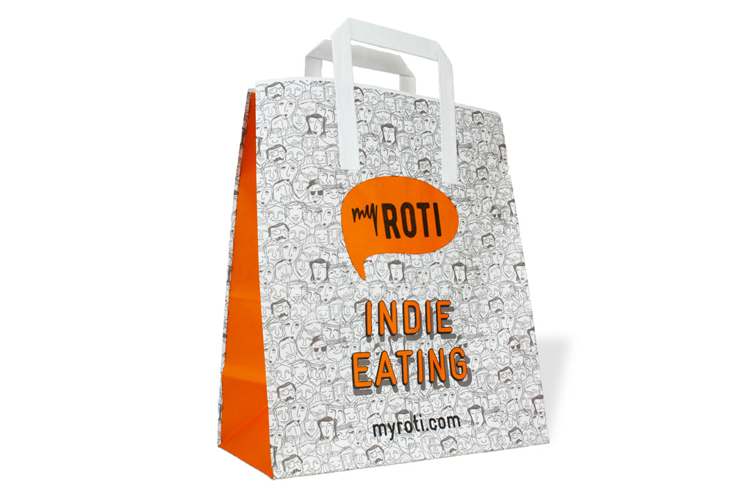 bespoke custom printed food takeaway bags flat handle paper