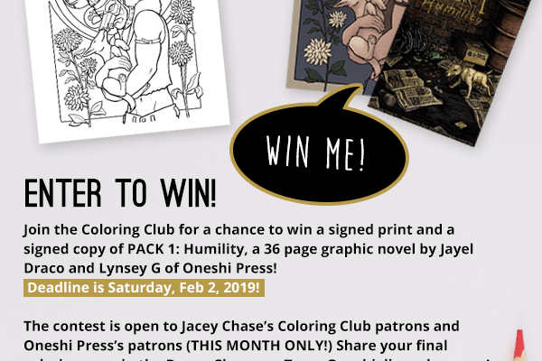 coloring contest pack comicbook oneshi press jacey chase