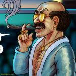tracy queen dickie doublefinger cigar bathrobe gold chain aviators bald mustache oneshi press justice anthology comic book comicbook