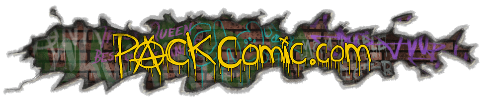 "the title ""packcomic.com"" written in spray paint in front of a large crack in a wall exposing old brick and spray paint beneath"