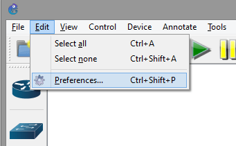 Editing preferences of GNS3