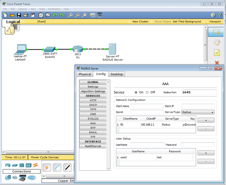 Packet Tracer 5.3 - Router radius authentication