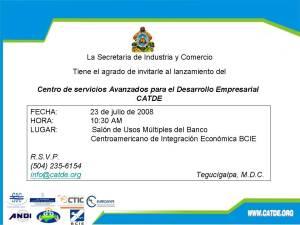 Invitación CATDE 23 JULIO. Tegucigalpa. Honduras