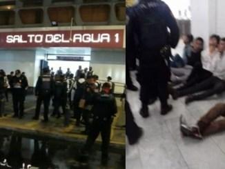 ¡Zafarrancho en el Metro! Hombres en estado de ebriedad querían ingresar sin cubrebocas #VIDEO