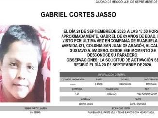 #AlertaAmber Gabriel, de 9 años, desapareció ayer en la GAM