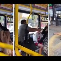 Sacan de un empujón a mujer que escupió a un pasajero dentro de un camión #VIDEO