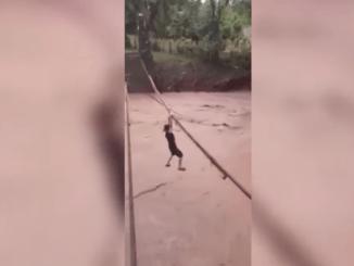 Joven es captado cruzando río San José en Honduras, colgado #VIDEO