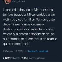"""""""Lo ocurrido hoy en el metro es una terrible tragedia"""": Ebrard"""