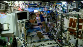 Astronauts aboard the ISS watch the launch