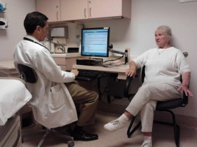 Chatting with her doctor