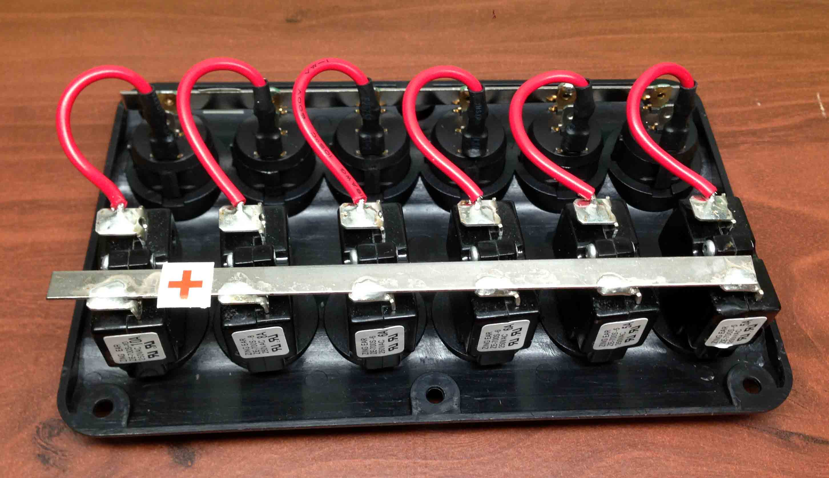 Kayak Battery Wiring Diagram Marine Boat Ip65 Switch Panel 6 Gang Led Switches
