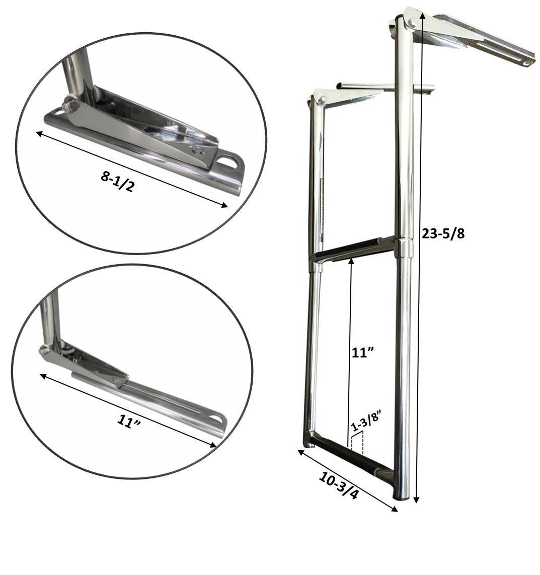 Marine Boat Stainless Steel 2 Step Telescopic Folding