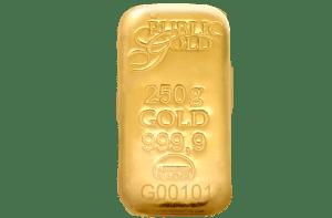public gold 250g cast bar