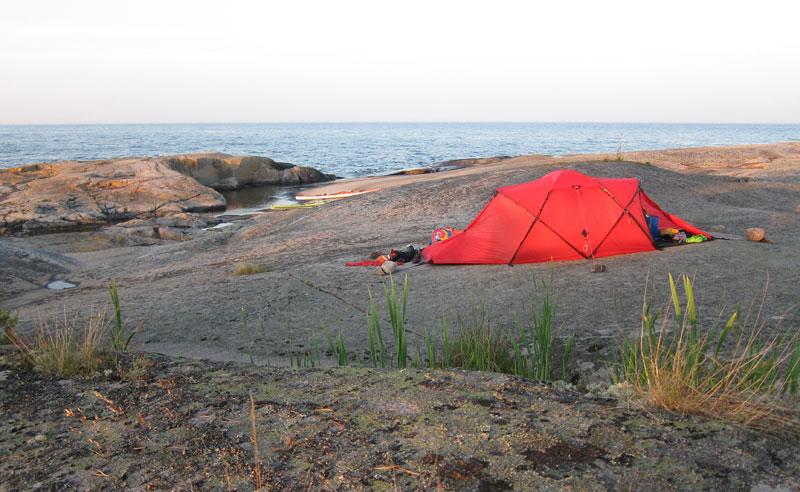 Tält med horisontvy