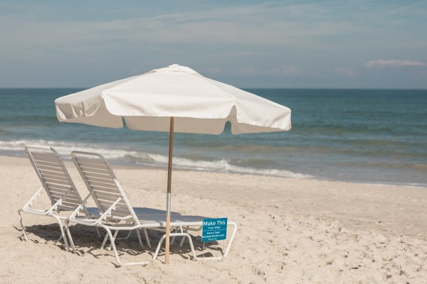 Beach Lounge Chair and Umbrella