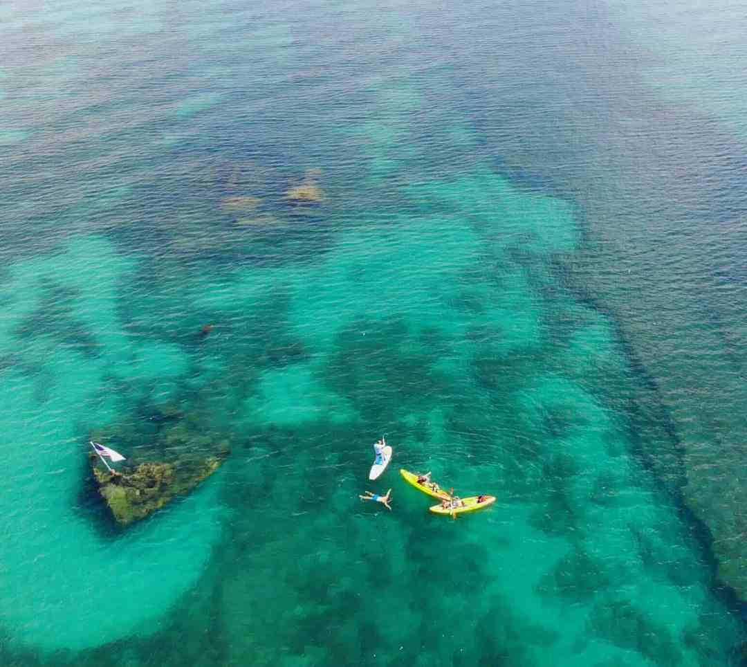 Paddle board and kayak on the ocean