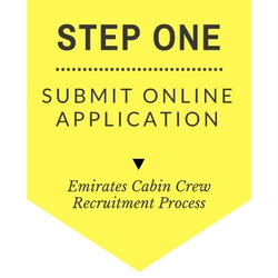 Emirates cabin crew recruitment step by step process - Step One- Submit Online Application