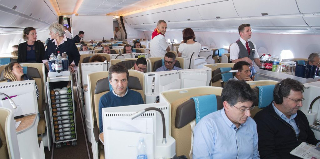 Passengers enjoy the cabin environment onboard the A350-1000. Photo Credit: Airbus