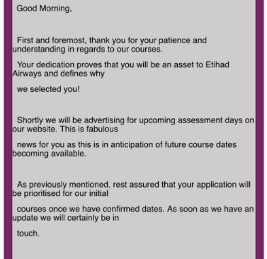 This email has been sent out to 'on-hold' candidates with Etihad Airways