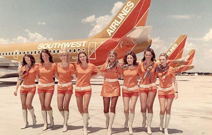 The original Southwest Airlines flight attendant uniform.