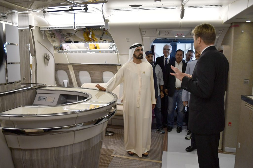 Sheikh Mohammed bin Rashid Al Maktoum touring the onboard lounge of an Emirates A380 at the Airbus manufacturing plant in Hamburg. Photo Credit: Dubai Media Office
