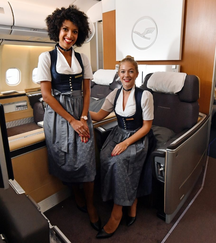 The Trachtencrew have graced Lufthansa flights for years as a way to celebrate Oktoberfest. Photo Credit: Lufthansa