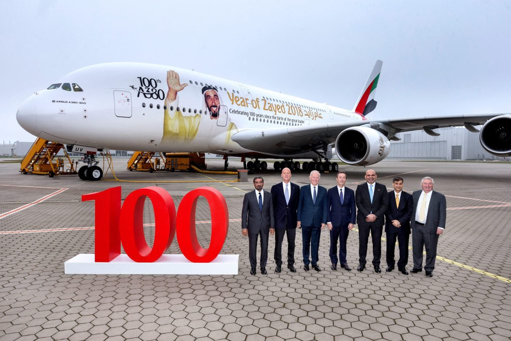 In 2016 to 2017, Emirates received a record 19 brand new Airbus A380's. It recently took delivery of its milestone 100th A380. Photo Credit: Emirates