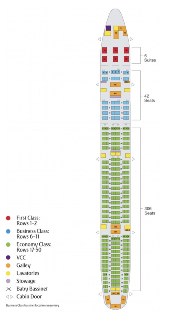 A newly released seat map for Emirates' Boeing 777-300 shows the First Class suites in a 1-1-1 configuration. Photo Credit: Emirates