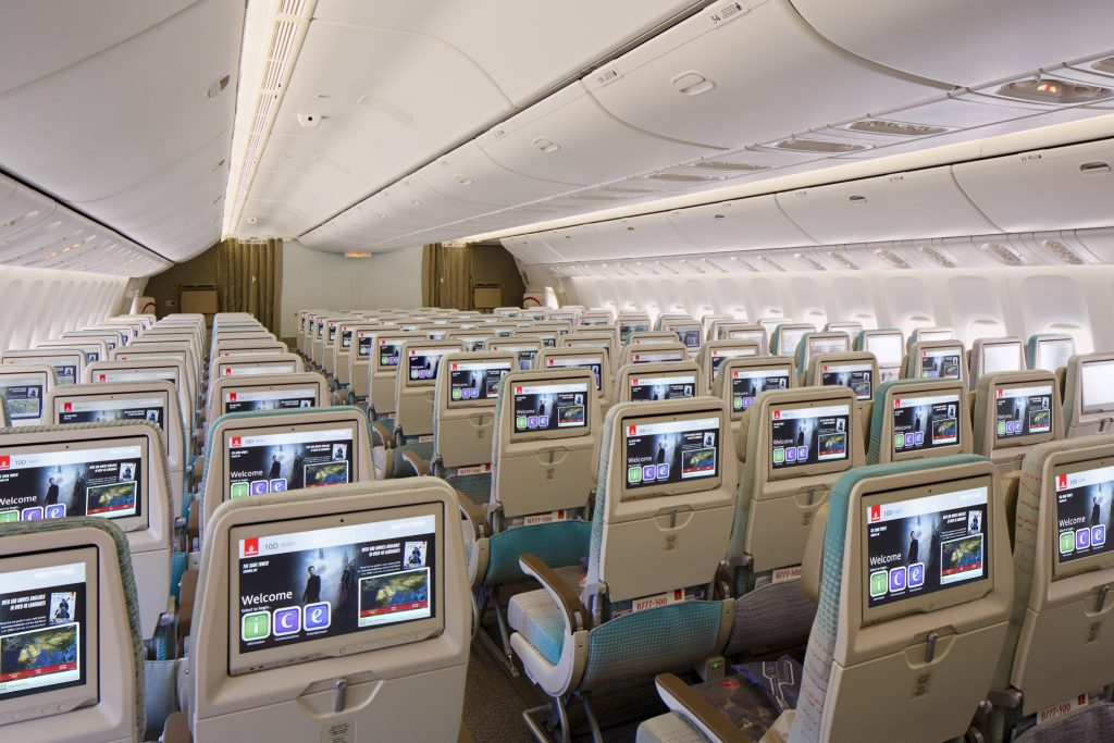 The Panasonic inflight entertainment system features new 'super eco' monitors and dual high power charging ports. Photo Credit: Emirates