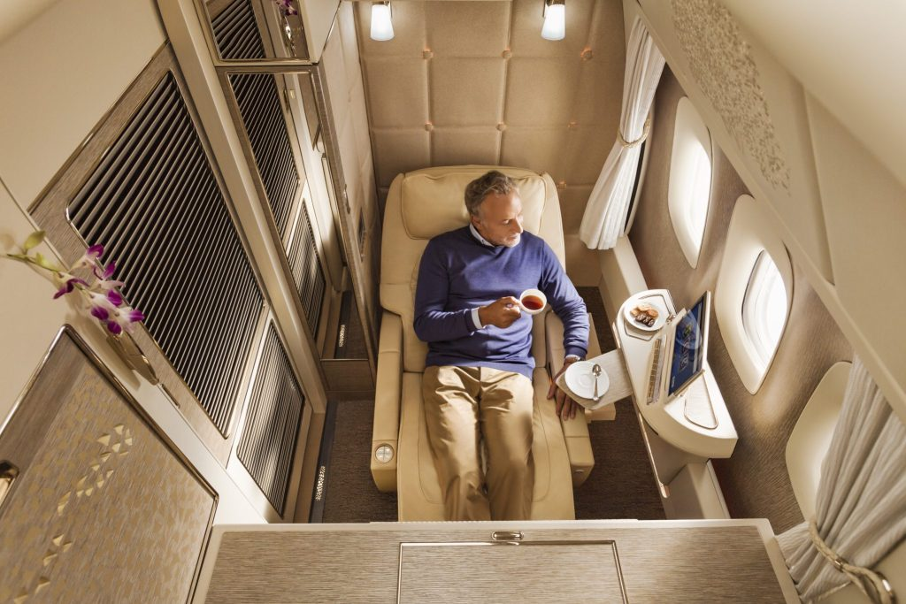 """Inspired by NASA technology, the seat has a """"zero gravity"""" setting. Photo Credit: Emirates"""