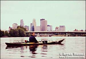 Wes paddling into the Twin Cities.  The half-way point of the trip.