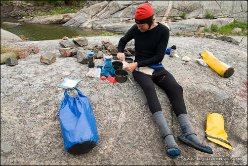 cooking breakfast on a kayaking trip