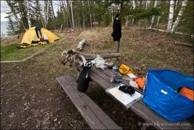 Ikea bag while kayak camping