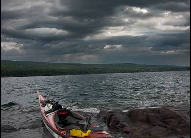 Kayak and stormy weather