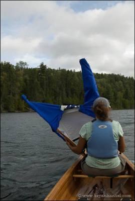 Canoe sailing on Knife Lake