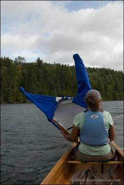 Canoe sailing on Knife Lake