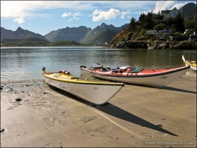 Kayaks in the Lofoten Islands.