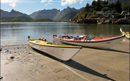 Kayaks in the Lofoten Islands.