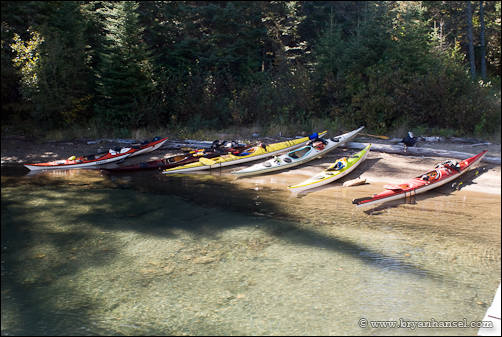 Kayaks on the beach at Hole in the Wall.