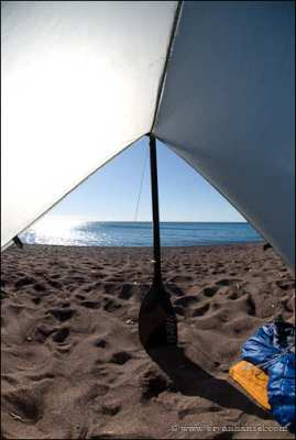 Looking out from the SilTarp 2. On Lake Superior.