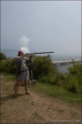 Firing a fur trade musket